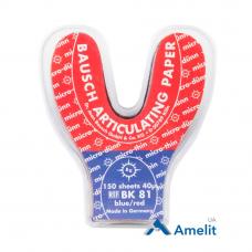 Артикуляционная бумага BK-81 Arti-Check, 40 мкм, красно-синяя, 150 дуг (Bausch), 1 уп.