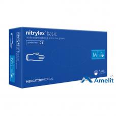 Перчатки нитриловые Nitrylex PF Protect Basic, голубые, размер «M» (Mercator Medical), 50 пар/упак.