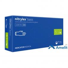 Перчатки нитриловые Nitrylex PF Protect Basic, голубые, размер «S» (Mercator Medical), 50 пар/упак.